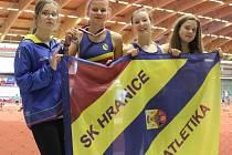 Atletky SK Hranice. Zleva Barbora Odstrčilová, Adéla Dostálová, Veronika Svobodová a Terezie Kočnarová