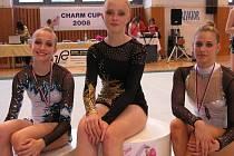 Únava i radost je znát na tvářích přerovských gymnastek po závodech. Zleva Klára Jančíková, Pavlína Koplíková Markéta Jančíková.