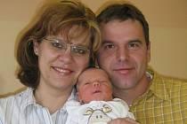 Jakub Jirásek, Lipník nad Bečvou, narozen 15. listopadu v Olomouci, míra 54 cm, váha 4000 g