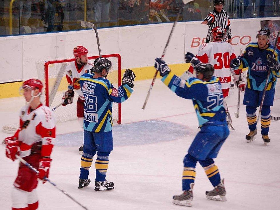 Přerovští hokejisté se radují z gólu