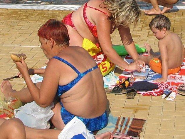 Někteří lidé si na koupaliště nosí raděj svačiny.