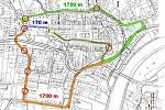 Mapa centra Hranic - délka komunikací.