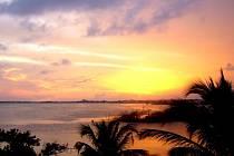 Západ slunce v mexickém zálivu.