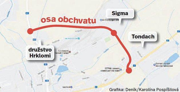 Trasa plánovaného obchvatu Hranic