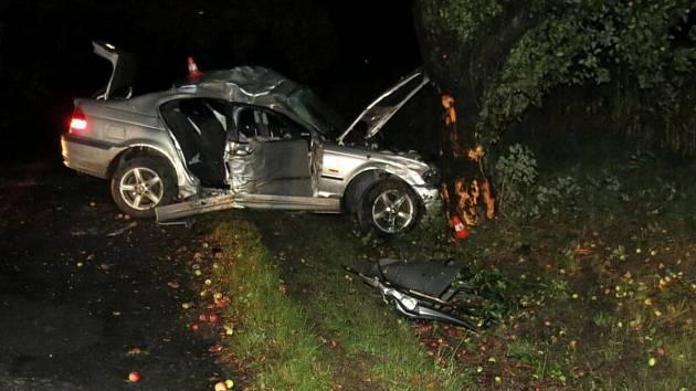 Nehoda BMW u Stříteže nad Ludinou