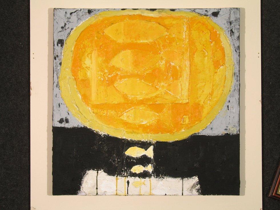 Obraz Tibora Červeňáka Žlutá + černá kompozice, který byl vybrán na prestižní výstavu v Anglii.