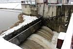 Stav řeky Bečvy v Hranicích - 4. února 2019