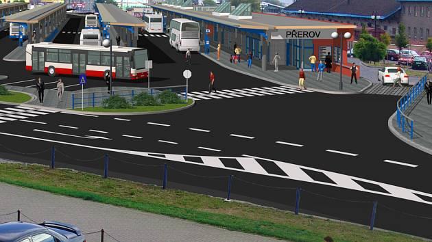 Vizualizace opraveného autobusového nádraží v Přerově