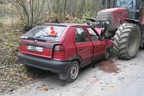 Srážka felicie a traktoru u Bělotína