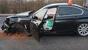 Nehoda tří auta v Hustopečích nad Bečvou