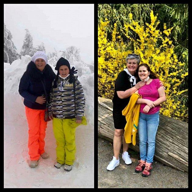 Rozdíl pěti dnů! Vlevo foto zPusteven vpátek 16.dubna, vpravo ze Zoo Lešná ve středu 21.dubna.