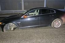 Havárie jaguaru na dálnici D48 u Bělotína