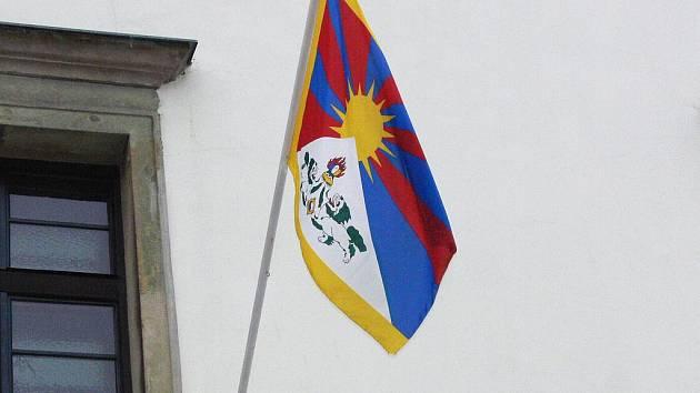 Tibetská vlajka v Hranicích