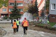 Práce na revitalizaci sídliště Nová v říjnu 2017