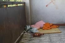 Bezdomovci okupují terasu obchodu na sídlišti Hromůvka