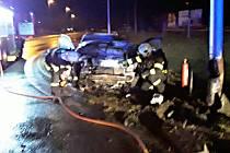 Nehoda na kruhovém objezdu 25. prosince 2019 v Hranicích