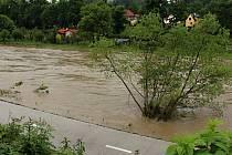 Bečva u Teplic nad Bečvou ve čtvrtek 23.5. 2019 dopoledne.