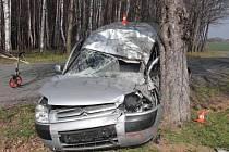 Nehoda řidiče citroenu u Rouského