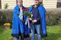 Zástupci spolku Srdcová sedma 2020 - Spolek rytířů Moravy a vína uctili památku obětí druhé světové války.