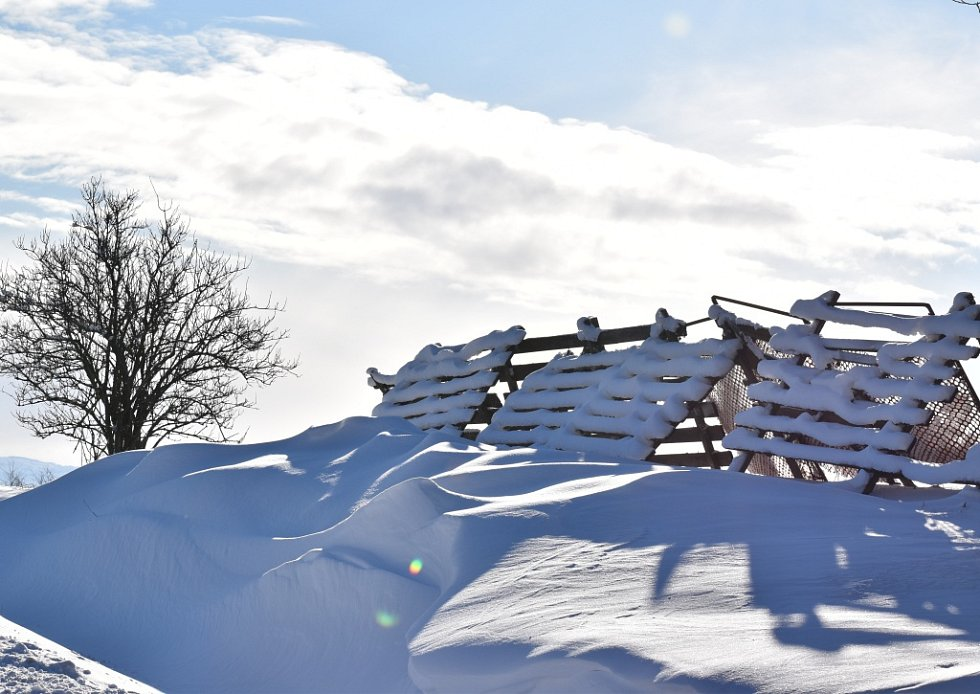 Sníh ve Středolesí 14. ledna 2021.