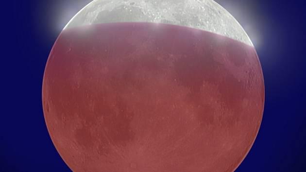 Na simulovaném snímku je zachyceno, jak bude vypadat maximální fáze zatmění Měsíce.