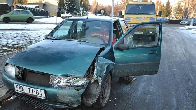 Nehoda v Nádražní ulici v Hranicích