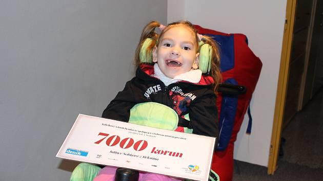 Sedm tisíc z  Kabelkového veletrhu Deníku použije maminka Julinky z Bělotína na montáž sedačky.
