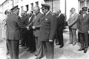 Otevírání nové hasičské zbrojnice v Miloticích nad Bečvou v roce 1978.