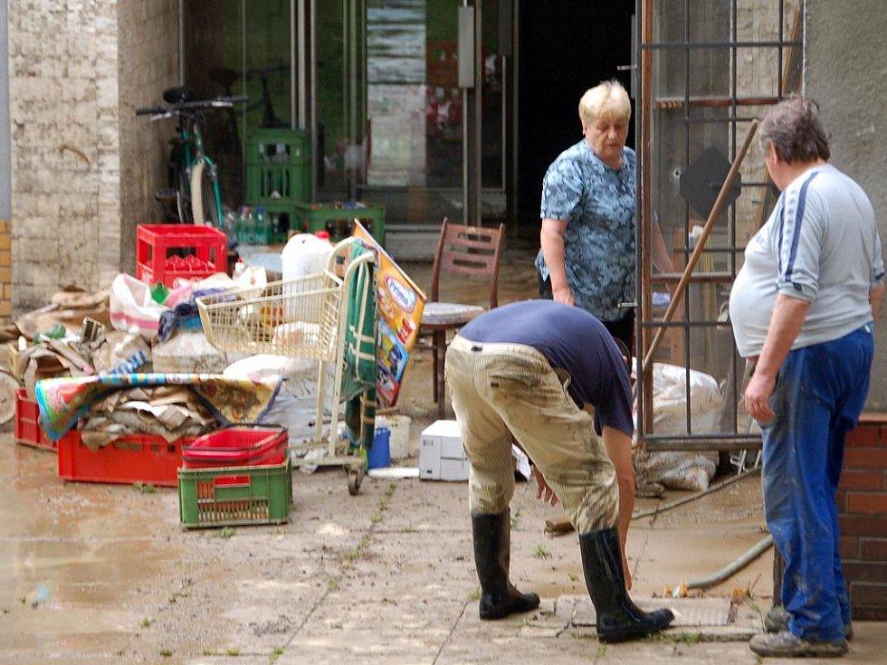Následky záplav v Hustopečích nad Bečvou