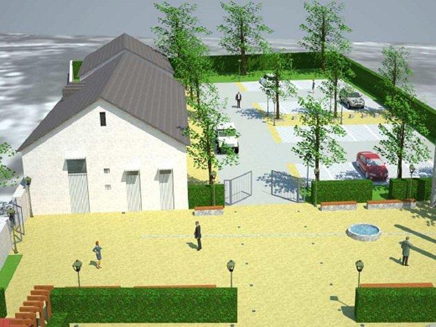 Takto by podle vizualizace studie využitelnosti mohl vypadat areál bývalého zahradnictví u městského hřbitova v Hranicích - Pěší odpočinková část