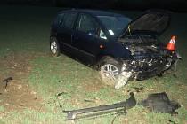 Dopravní nehoda focusu u Milotic nad Bečvou