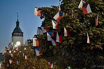 Město Hranice ozdobilo stromy na náměstí vlaječkami. Lidé jich většinu ukradli nebo zničili.