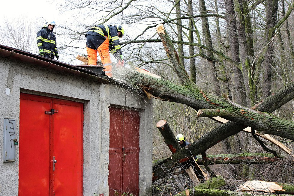 Hasiči odstraňovali v pondělí  10. února po poledni stromy, který silný vítr vyvrátil na garáž na Nové ulici v Hranicích.