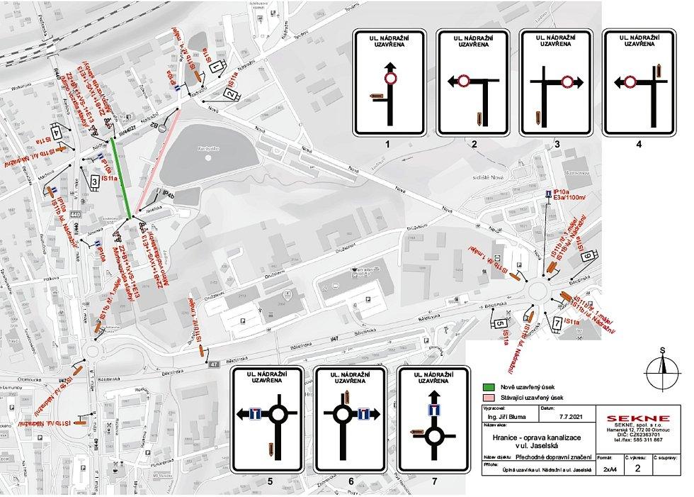 Situace uzavírky v ulici Nádražní.