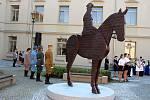 Slavnostní odhalení sochy Tomáše Garriqua Masaryka v pondělí 14. září 2020 na Školní náměstí v Hranicích.
