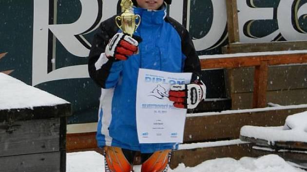 Martin Kuča získal 3. místo v obřím slalomu.