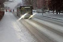 Zasněžené úterý 8. ledna 2019 v Hranicích