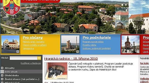 Web hranické radnice