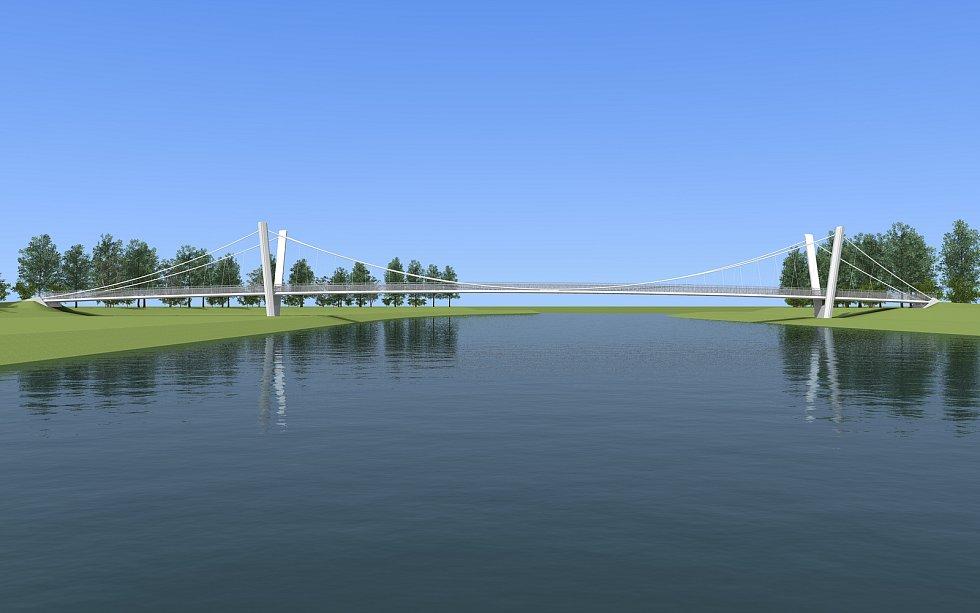 Vizualizace lávky přes Bečvu na cyklostezce mezi Ústím a Černotínem.