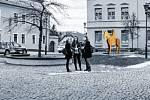 Vizualizace sochy Tomáše Garrigua Masaryka na Školním náměstí vHranicích.