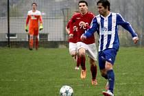 Hraničtí fotbalisté (v pruhovaném) proti Valašskému Meziříčí