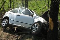 Řidič jel ve voze Škoda Felicia od Valašského Meziříčí ve směru na Hranice.