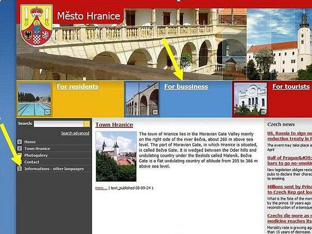 Anglická verze webu hranické radnice