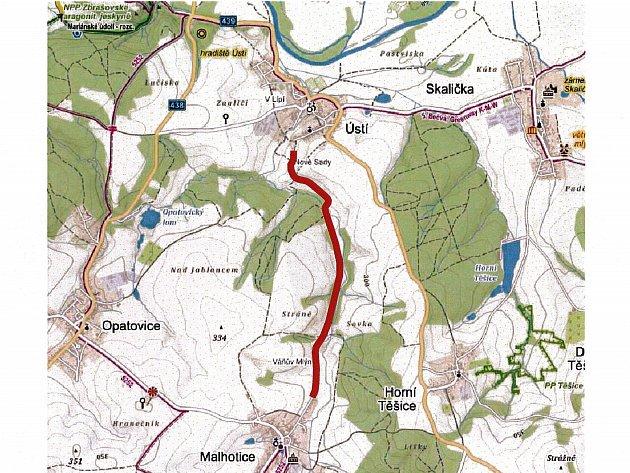 Trasa cyklostezky povede zcentra obce přes Dolní Louky až směrem kmostu uÚstí.