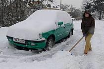 Sněhová nadílka v Hranicích - středa 6. ledna 2010