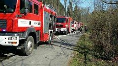 Požáru lesního porostu v místní části Bělotína Nejdek