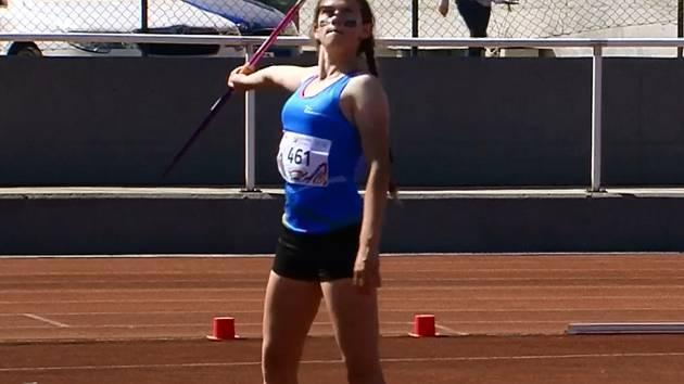 Hranická atletka Kateřina Kasparová na olympiádě dětí a mládeže.