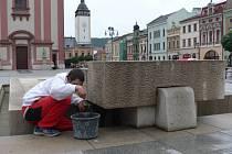 Oprava kašny na Masarykově náměstí v Hranicích