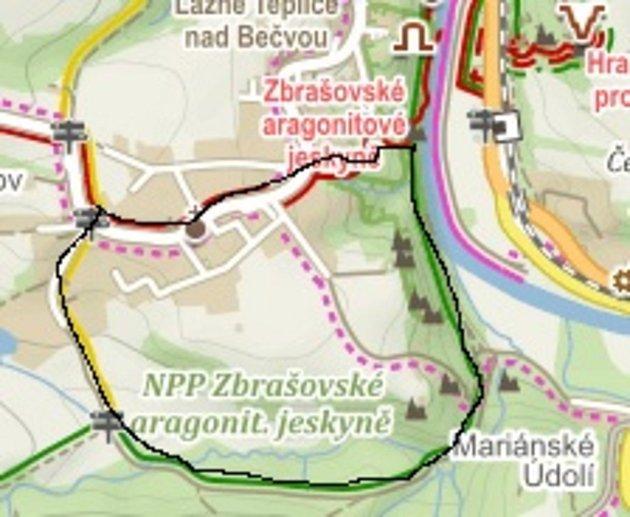 Poznejte sDomečkem krásy Hranic a okolí - první trasa: kratší, asi 5km.