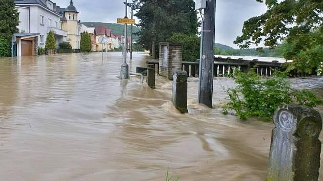 Zaplavené Hranice v  květnu 2010